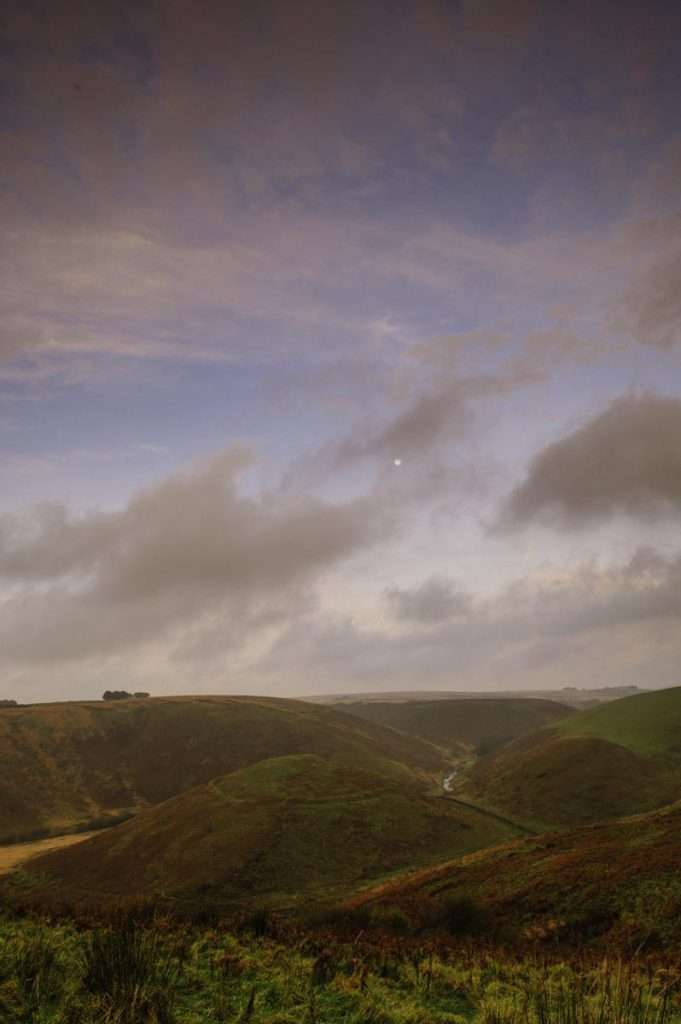 colour landscape photograph of hills in exmoor