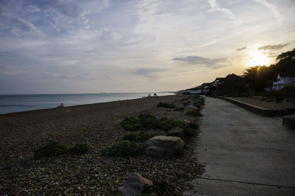 The walkway by Sandgate beaches early evening