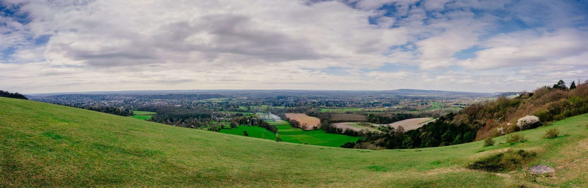 Merged photograph of the North Downs Surrey and Sussex