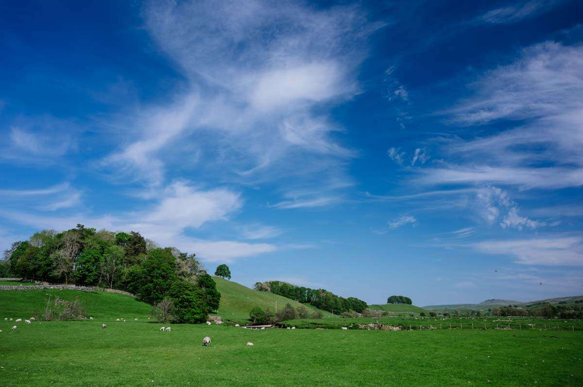 A fantastic sky over a field Hawes North Yorkshire